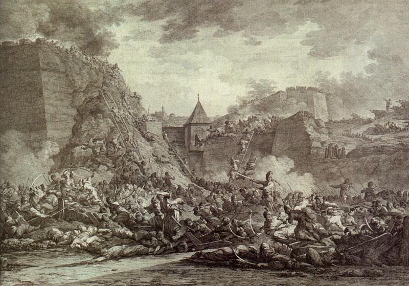 «Штурм Очакова» Гравюра А. Берга, 1792 г.