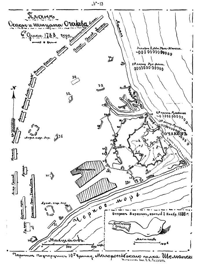 План штурма крепости Очаков 6 декабря 1788 г.